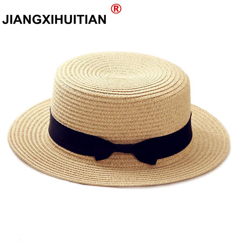 ef0b6644aa4fdb 2019 2019 Simple Summer Parent Child Beach Hat Female Casual Panama Hat  Lady Brand Women Flat Brim Bowknot Straw Cap Glris Sun Hat From Fly181688,  ...
