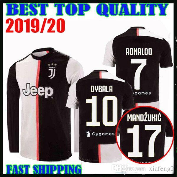 sale retailer 81dfe 7525d Long sleeve 19 20 RONALDO #7 Juventus football team jersey DYBALA 2019 2020  home MANDZUKIC Bonucci MATUIDI D.COSTA football shirt JUVE Thail