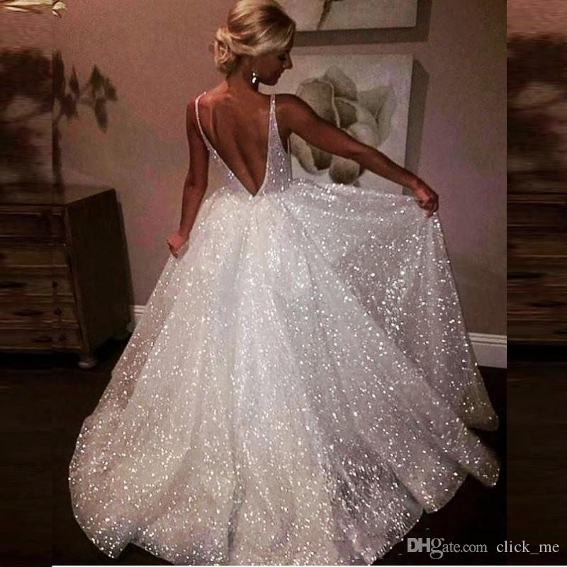 6f5948027b8 Sparkle Sequin Backless Evening Dresses Deep V Neck Sexy Low Back Long Prom  Dress Cheap Special Occasion Girls Pageant Gowns Yong Girls Wear Prom Dress  ...