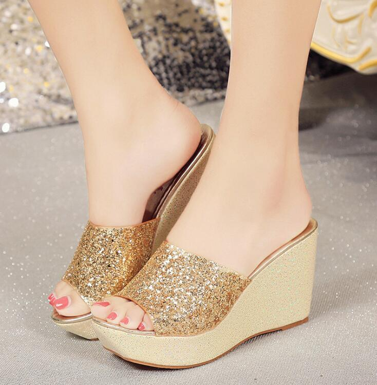 3278627f4f8 Sunny Everest 2019 New Women Sandals Platform Golden Slipper Summer Shoes  Beach Casual Shoes Party Shoe 35 39 Tall Gladiator Sandals Tan Wedges From  ...