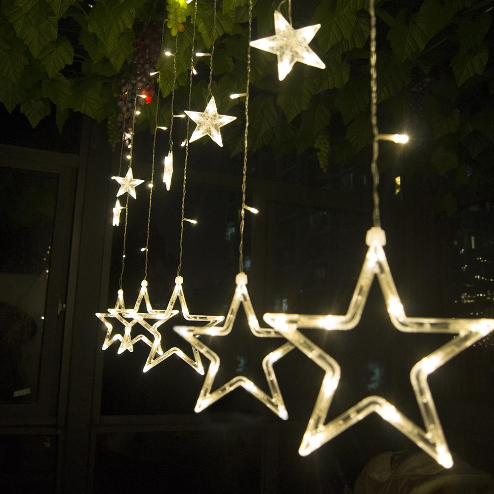 Led Curtain String Light 2 5m 138leds Romantic Fairy Star Led Christmas Lights White Warm White Blue