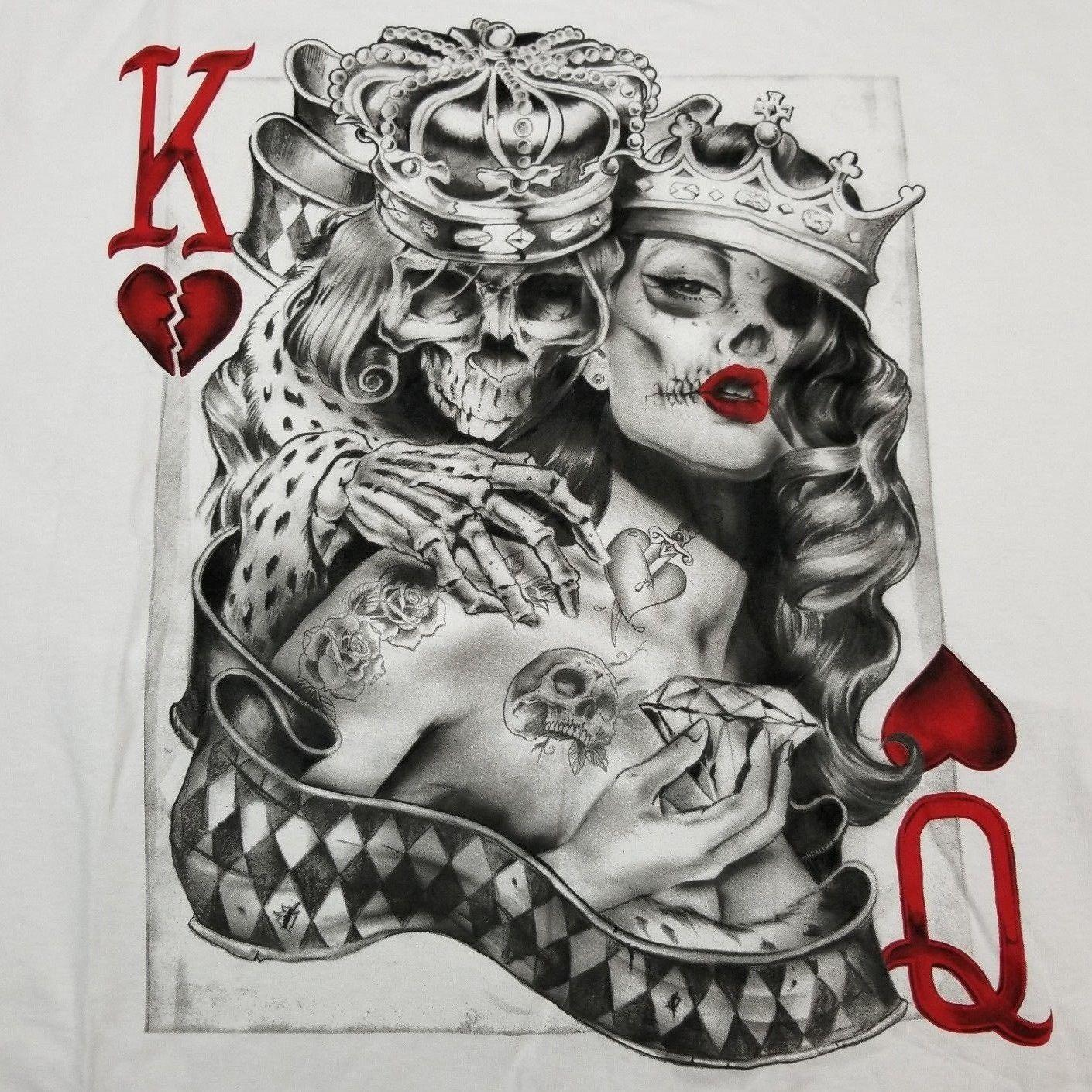 a10179308435d Men's King & Queen Of Hearts T-Shirt S-3XL Tattoo Sugar Skull Poker Playing  Card
