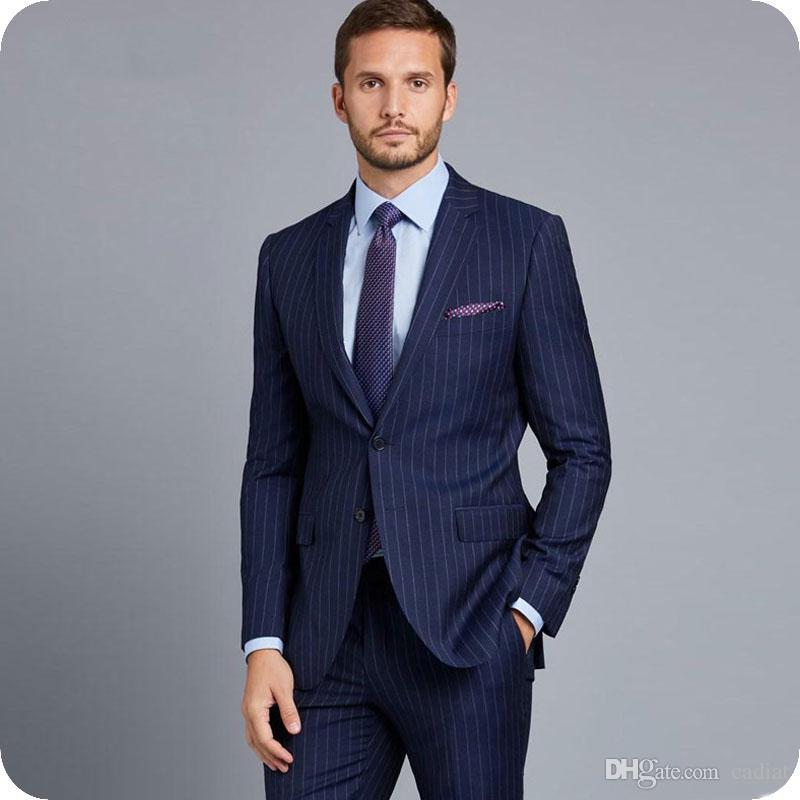 9c34b4b970616 Compre Rayas Azul Marino Trajes De Los Hombres Para La Boda Formal De Hombre  De Negocios Blazers 3Pieza De La Chaqueta Últimos Diseños De Pantalón De  Traje ...