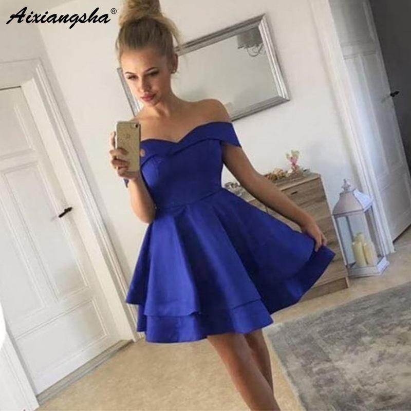 b455b3cdd74d0 Satın Al Omuz Kapalı Kraliyet Mavi Bordo Mini Mezuniyet Elbiseleri 2019 Yarı  Örgün Genç Mezuniyet Elbise Saten Kısa Gelinlik Modelleri Y19042701, ...
