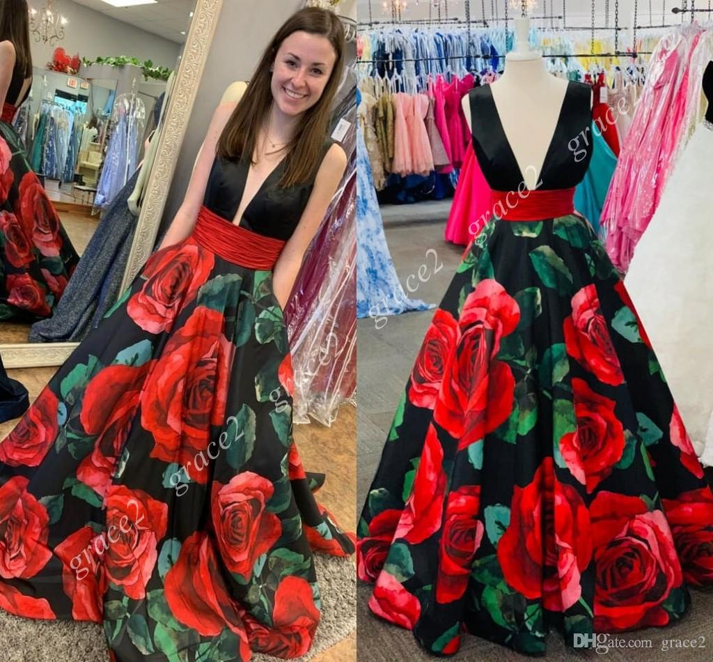 Print Floral Roses Prom Dresses 2019 A Line Plunging Neckline Formal  Evening Dress Backless Black Red Sleeveless Gala Party Dress Real Photo  Masquerade Prom ... 1d23ac527