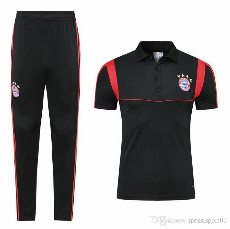 2019/2020 Bayern Munich Soccer Polo training suit 19 20 KIMMICH VIDAL LEWANDOWSKI MULLER Football Polos Short Sleeve adult Sport tracksuit