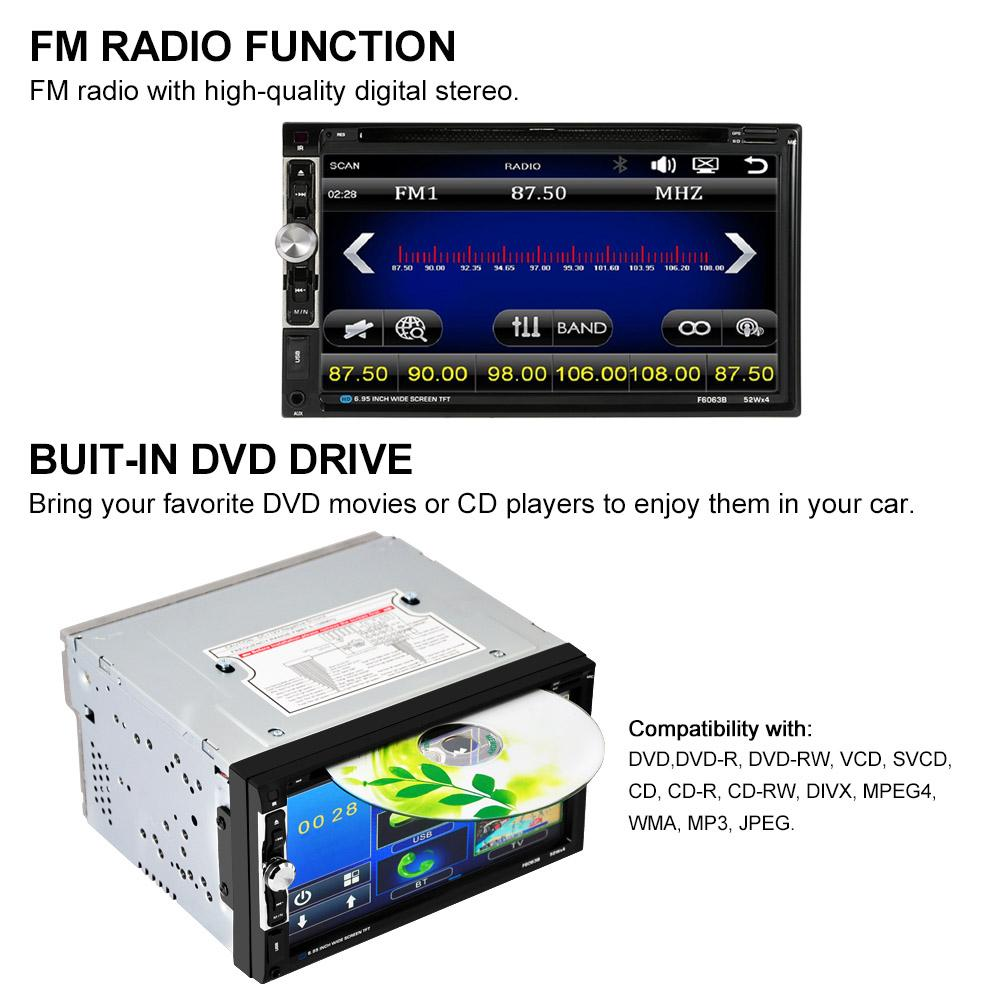 Freeshipping 2 Din Car Radio 7''In Car DVD Player Touch Screen Charge for USB Devices with Rear View Camera Input Interface for Ford Focus 2