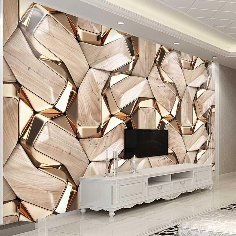 Self-Adhesive Mural Wallpaper Modern 3D Abstract Geometry Gold Metal Pattern Photo Wall Paper Living Room KTV Waterproof Canvas
