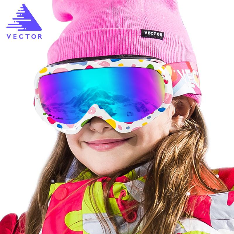 Ski Glasses Girls Boys Double Layers UV400 Anti-fog Ski Goggles Snow Skiing Snowboard Motocross Goggles Masks Kids Eyewear