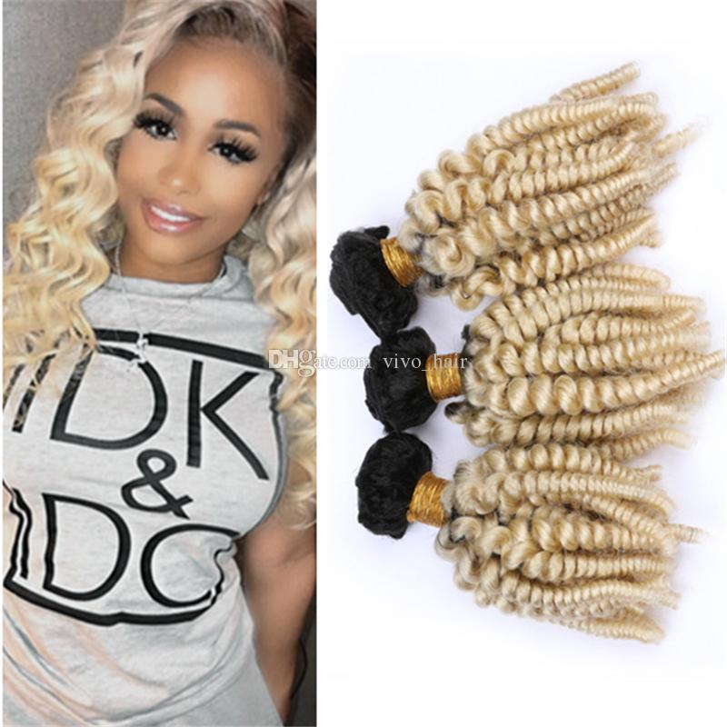 Platinum Blonde Ombre Funmi Human Hair Bundles 300g 1B/613 Ombre Romance Spiral Curls virgin Malaysian Hair Weave Wefts Extensions