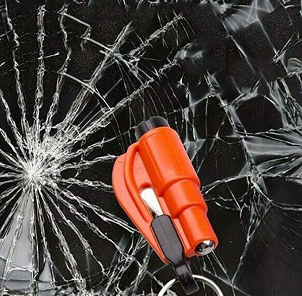 Mini Emniyet Çekiç Acil SOS Yardım Anahtarlık Düdük Bıçak Araba Emniyet Kemeri Kesici Pencere Arası Kaçış Pencere Camı Kesici