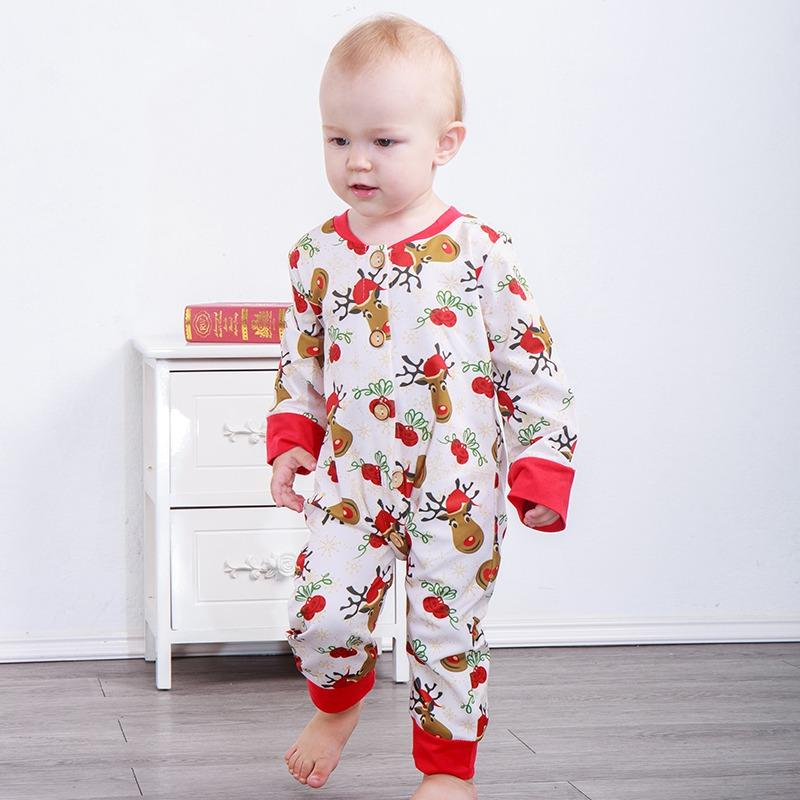 01d84a063e60 Baby Christmas Bell Deer Print Jumpsuit Red Romper Infant Long ...