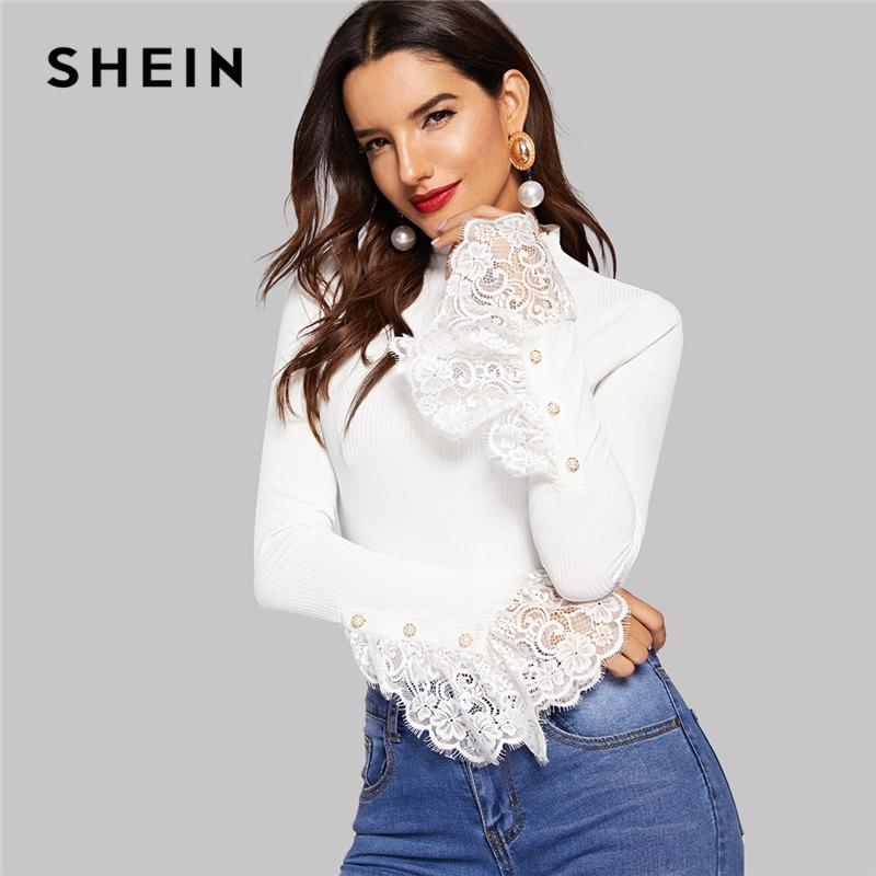 fb36b1ec58 Shein White Button Front Lace Cuff Ribbed Knit Tee Casual Flare Sleeve T  Shirt Women Spring Workwear Slim Fitted Tshirt Tops Y19042101 Funny T Shirts  For ...