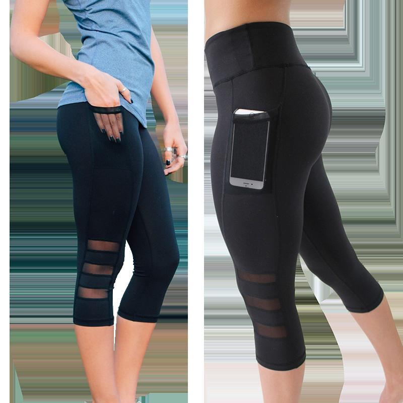 e97cd2cb983d45 2019 Yoga Leggings Black Mesh Calf Length Pants Gym Legging Women Sports  Push Up Pants Tight Athletic High Waist Leggings Woman From Comen