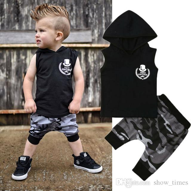 fd3883f3b88a 2019 2019 New Cool Fashion Toddler Kids Baby Boy Summer Clothes Hooded T  Shirt Tops Harem Pants Outfits 0 4T From Show times