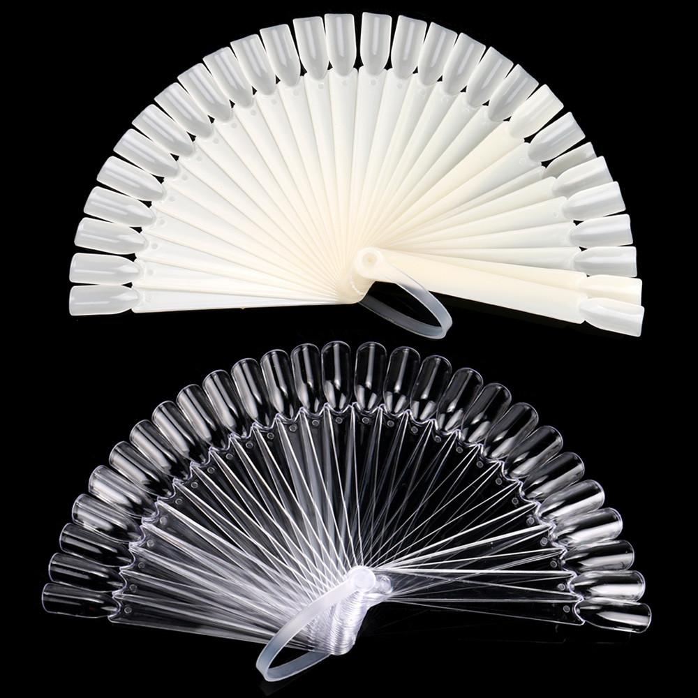 2019 Vendita calda 32 Pz Nail Art Suggerimenti False Stick Polish Practice Display Fan Board Design Tool decorazioni nail art