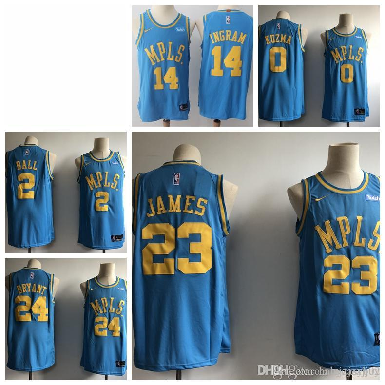 6b2706814 2019 23 LeBron James Laker Jersey The Citys Los Angeles Kobe 24 Lonzo 2  Ball Kyle 0 Kuzma Brandon 14 Ingram Blue Ball Jersey NEW As T Shirt Online T  Shirts ...
