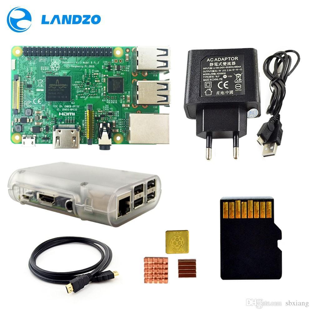 Freeshipping Raspberry Pi 3 Model B Starter Kit with Pi 3 Board+16G memory  card+HDMI cable+EU Power+Heatsinks+Transparent Raspberry pi 3 cas