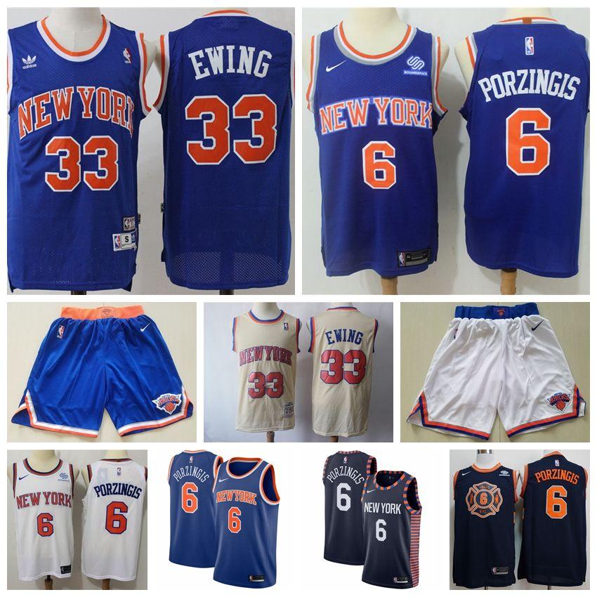 new style 0d2f0 421ae Mens New York 2019 Knicks Basketball Jersey #33 Patrick Ewing Kristaps  Porzingis Jerseys Stitched Embroidery Retro Knicks Basketball Shirts
