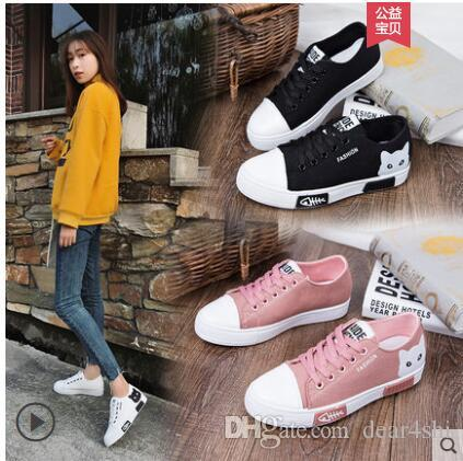 Spring and Autumn Women's Canvas Korean Sneakers 2019 Student Flat Shoes Wild Casual White Shoes Women