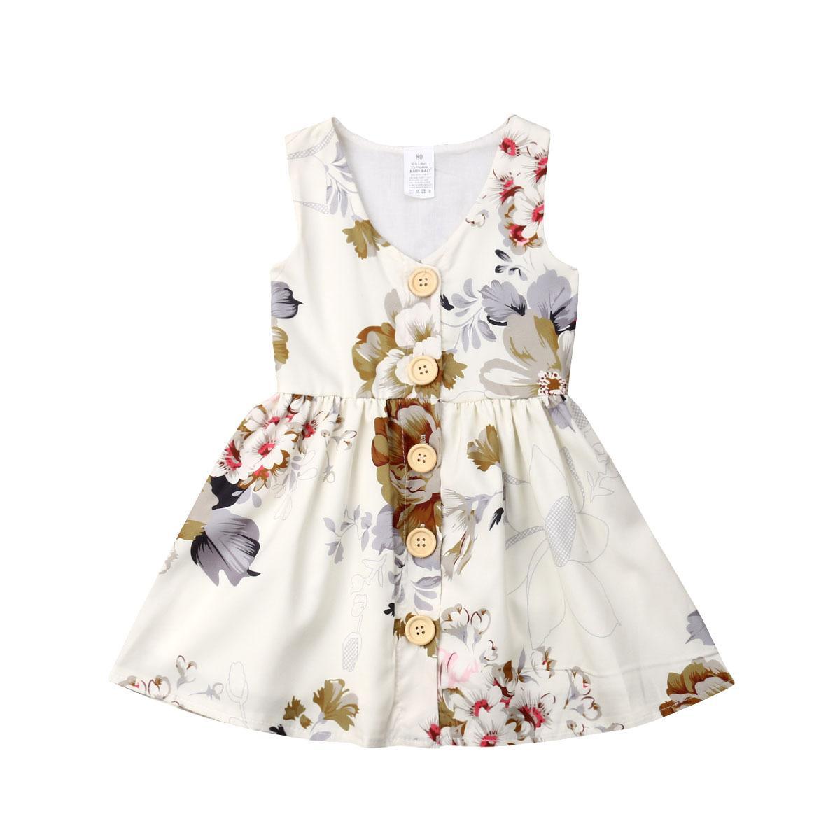 6453abdb6 Compre Vestido De La Muchacha De Los Niños Vestido Sin Mangas De Cuello  Redondo Estampado De Flores Completo Niña Vestido De Princesa Lolita De  Verano A ...
