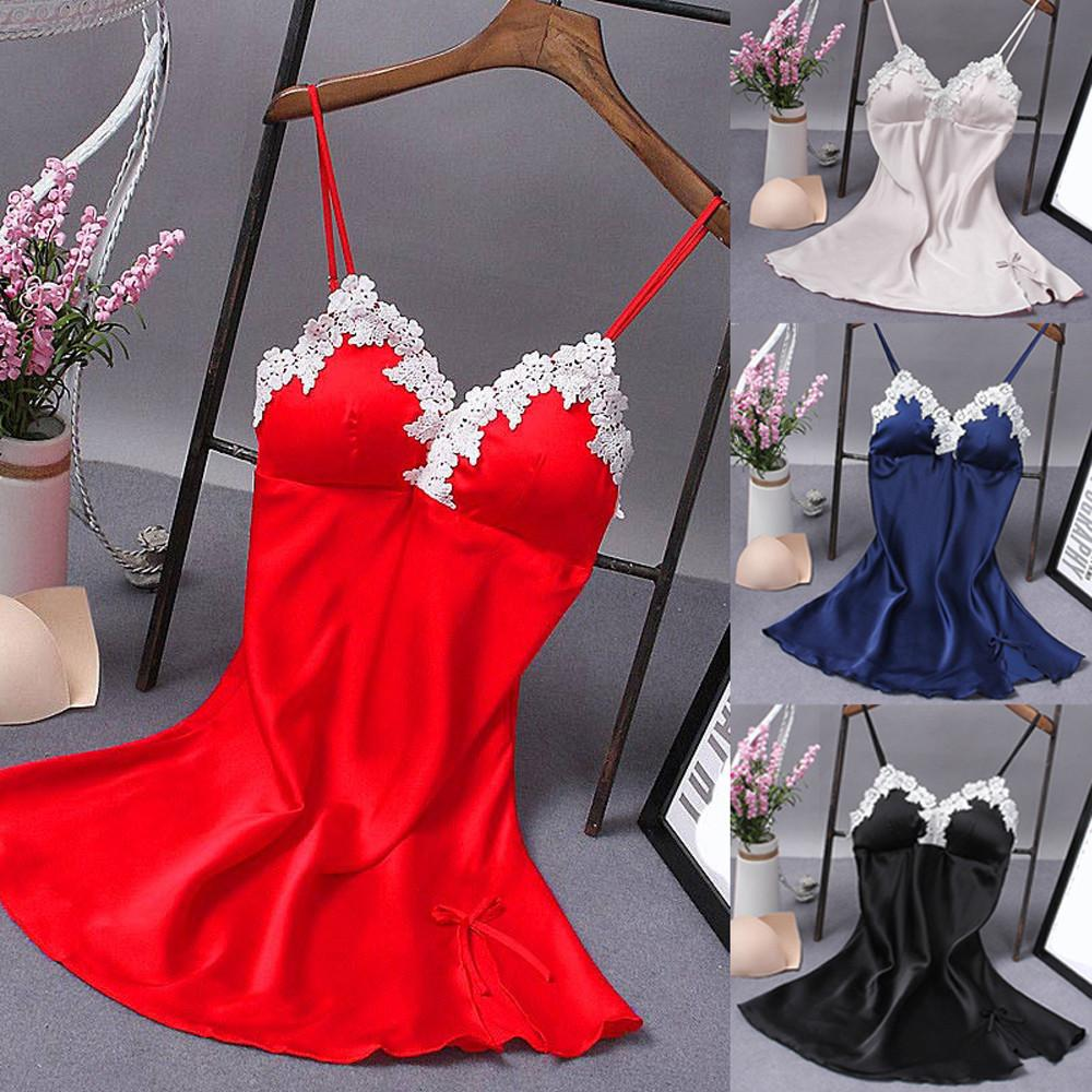 2019 2018 Fashion Sexy Lingerie Women Silk Robe Dress Babydoll Nightdress  Nightgown Sleepwear Lace Patchwork Babydolls From Ytf2015 d286042bf