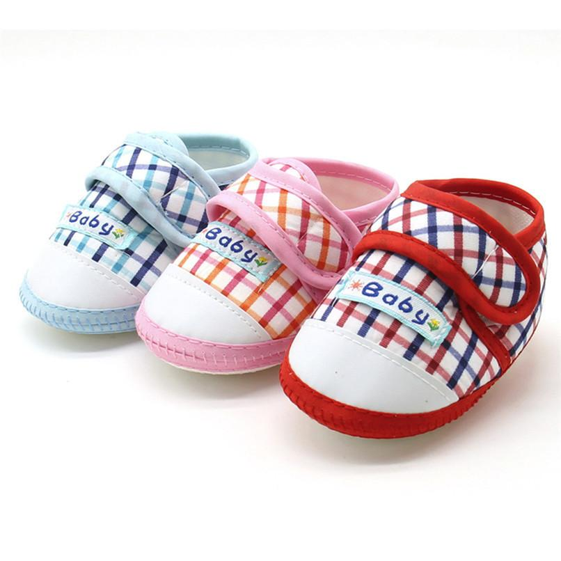48d68538fdd8 2019 Baby Shoes Fashion Newborn Infant Baby Boys Girls Warm Plaid Flats Shoes  Soft Sole Anti Slip Sneaker First Walker  5JY11 From Zerocold01