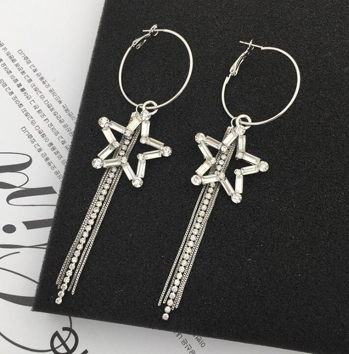 782dc18f1b6f1 Big Star Crystal Pendant Earrings Silver Gold Plated Hoop Earrings Ear  Cuffs Pendants Fashion Jewelry for Women Gift free Shipping