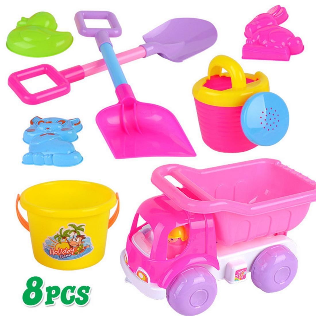 Color Random Toys & Hobbies Creative 5pcs Beach Sand Toy Set Bucket Shovels Watering Can Children Safety Soft Plastic Toys
