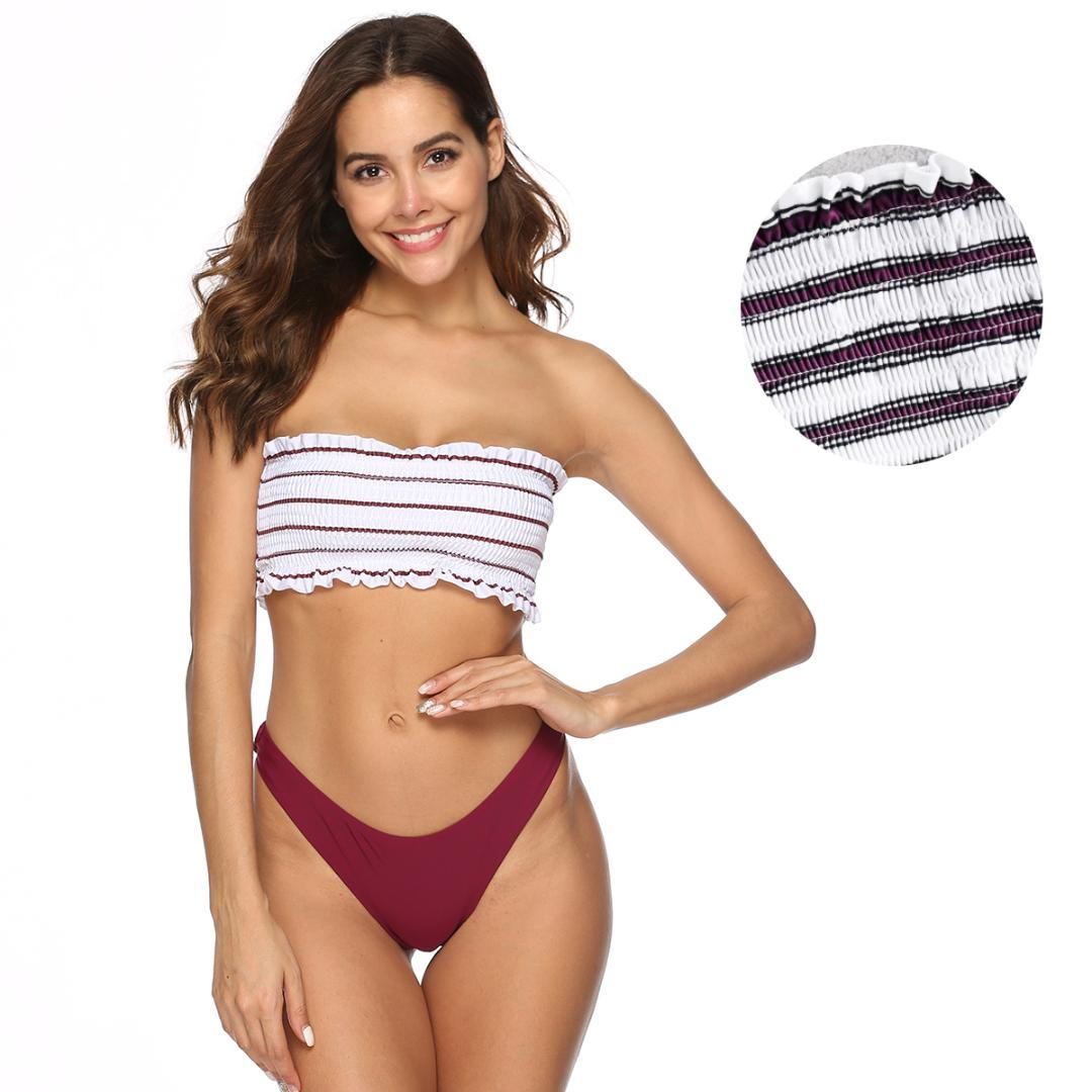 Con En Superior A Baño Biquini Hombro Traje Up Push El De Elástica Volantes Rayas Tanga Bikini Parte Conjunto 4jAL35R