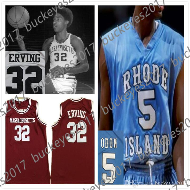 low priced b1804 be9e2 UMASS Massachusetts Minutemen #32 Julius Erving Dr. J Red White Retro Rhode  Island Rams #5 Lamar Odom Blue NCAA College Basketball Jerseys