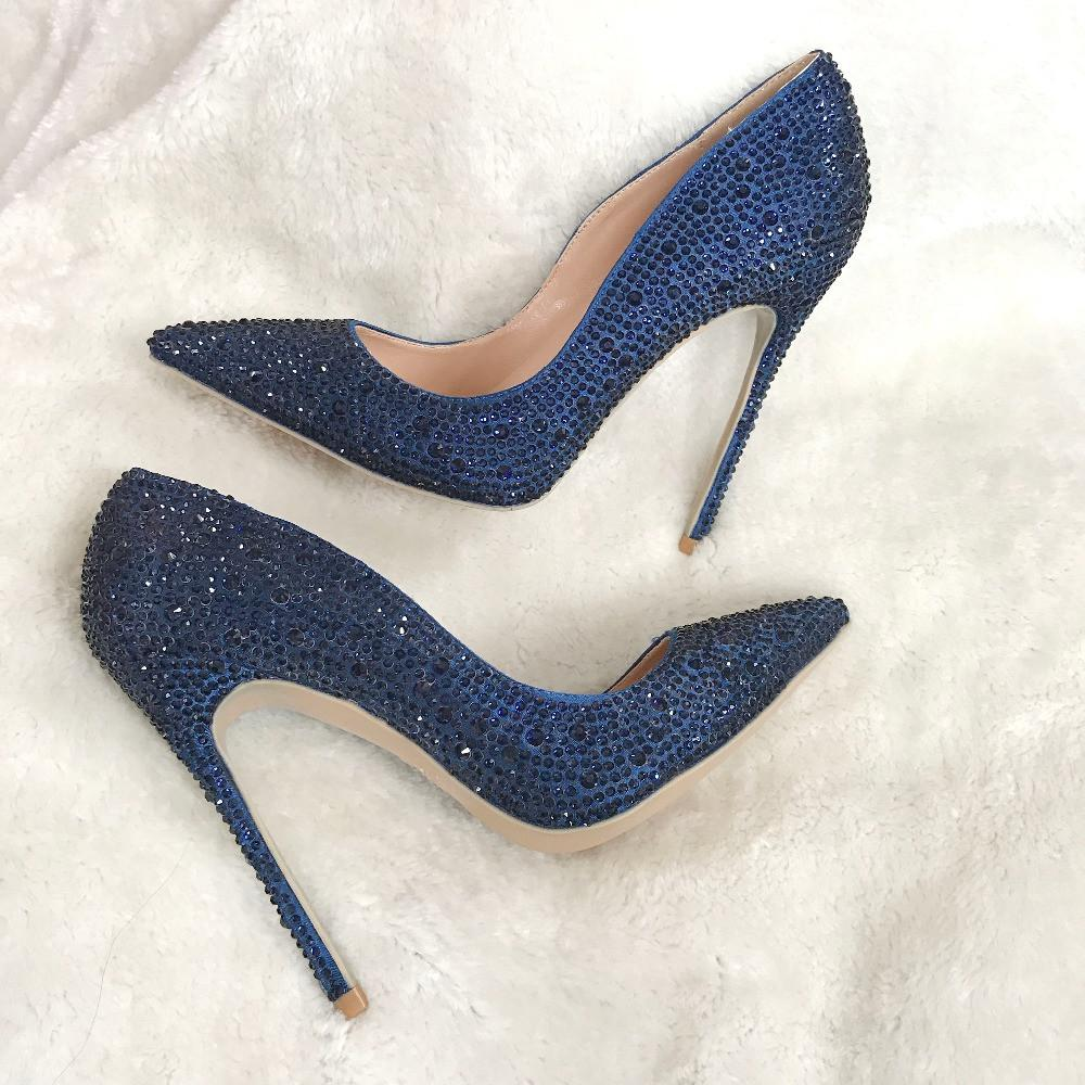 Free Shipping woman womens lady2019 new dark blue navy crystal pointed toe high heels shoes pumps Rhinestone Stiletto Heel