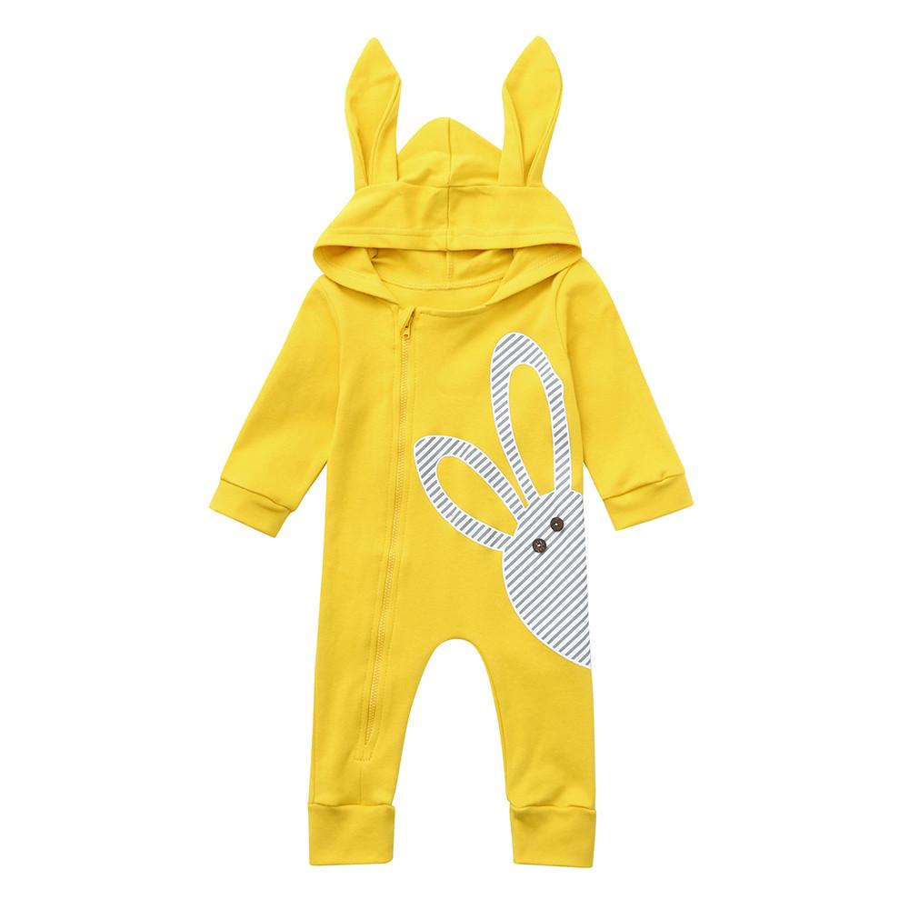 Infant Baby Long Sleeve Cartoon Rabbit Print Hoodie Romper Jumpsuit Clothes Autumn Winter Drop Shipping