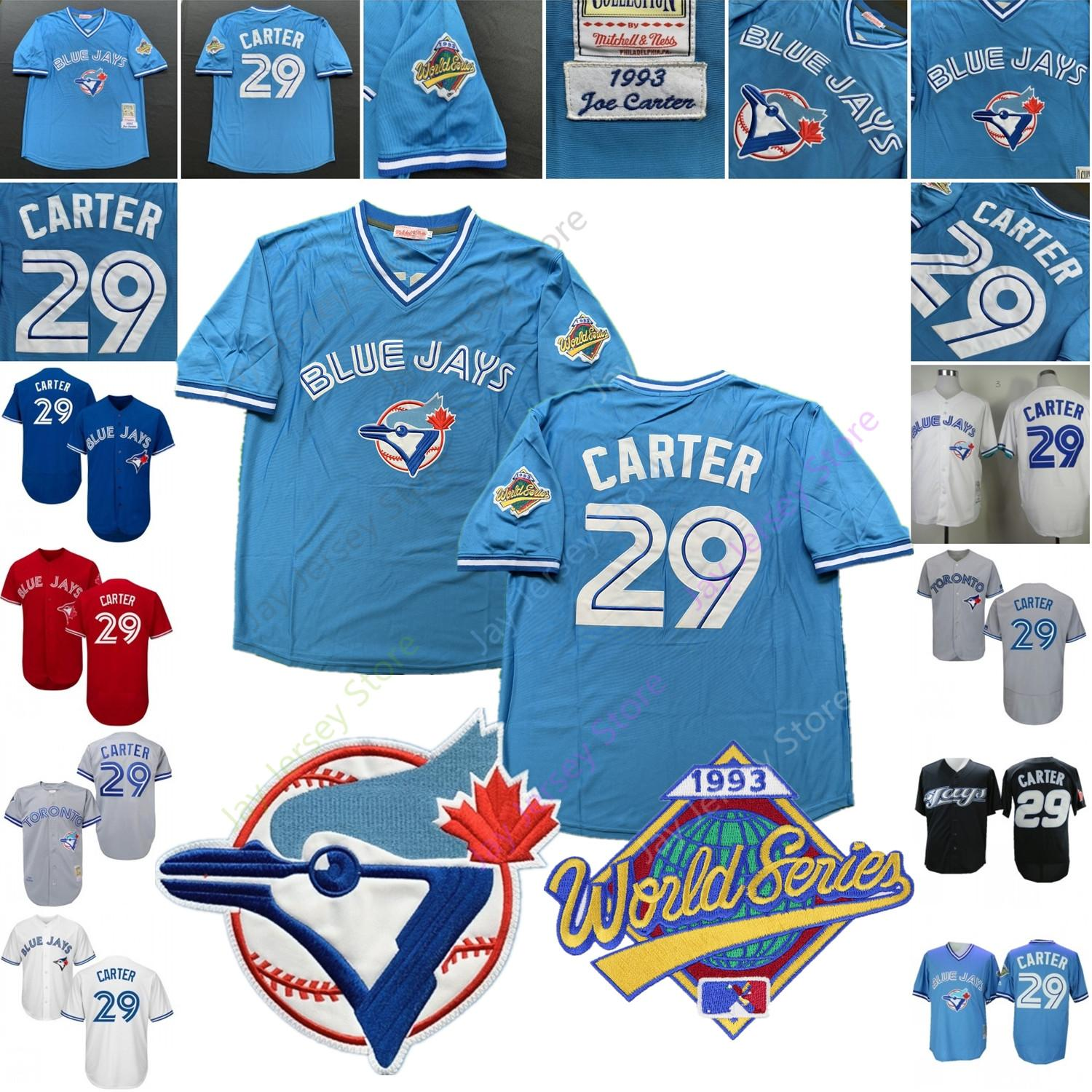 the latest 343ae 4064f Joe Carter Jersey MN Cooperstown 1993 WS World Series Toronto Baseball Blue  Jays Home Away White Blue Grey Red Black All Stitched