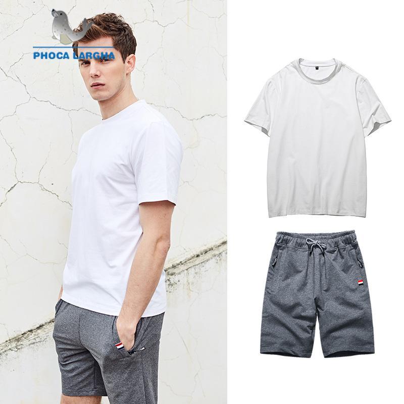 5fe46be6f Conjuntos de verano para hombres Moda Sólido Camisetas y pantalones cortos  Conjuntos para hombres Casual Slim Fit Tees Sudadera Pantalones Playa ...