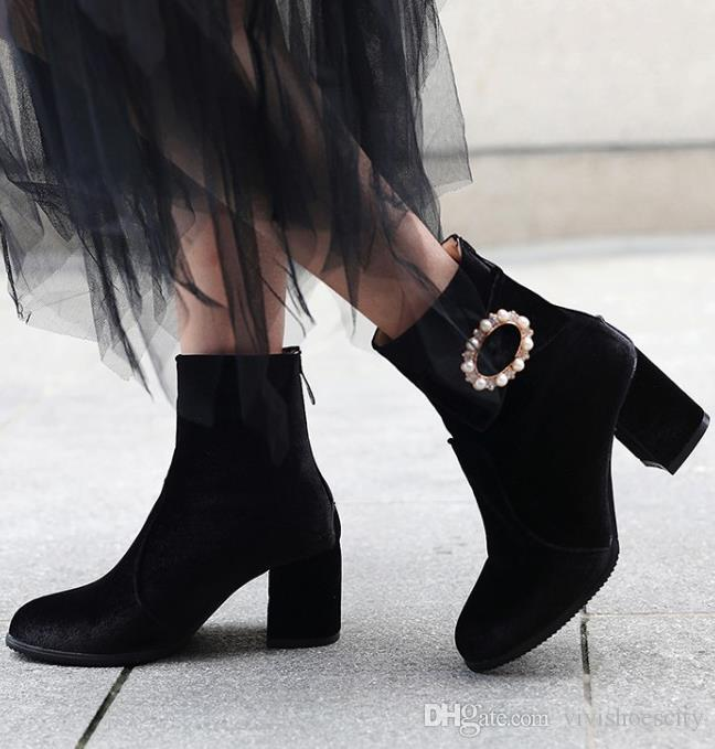 pequeño tamaño grande 32 a 42 y 48 botas de dulces de invierno de terciopelo grueso del talón del tobillo botín negro gris rosa viene con la caja