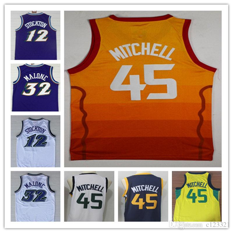 best sneakers b8246 f021e NCAA High Quality Men #12 John Stockton Jersey ,Shirt Wholesale Cheap #32  Karl Malone Basketball Jersey Black Purple white shirt free shippi