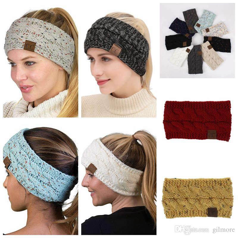 CC Knitted Headband Adults Woman Sport Winter Warm Beanies Hair Accessories Boho Yoga Headbands Fascinator Hat Ear Head 21Color 100pcs
