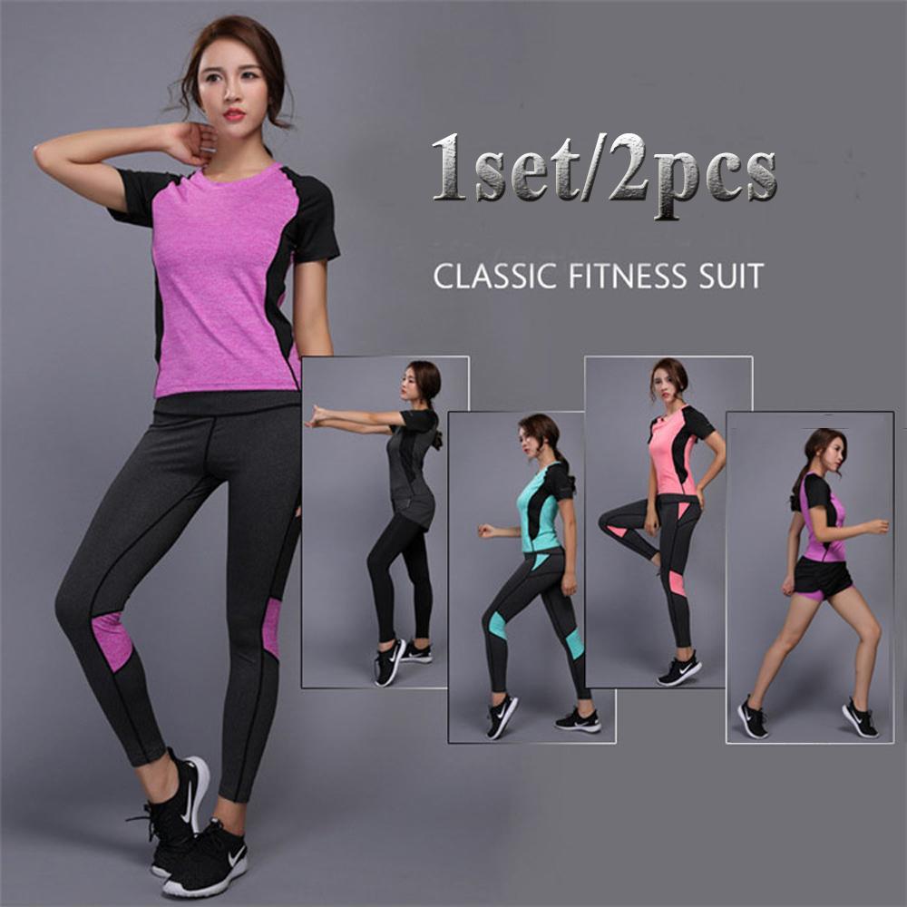 Acheter Femmes Running Sets Gym Fitness Vêtements Tennis Shirt + Pantalon  Running Sportwear Jogging Entraînement De Yoga Leggings Sport Suit De   26.79 Du ... 2165f84f733
