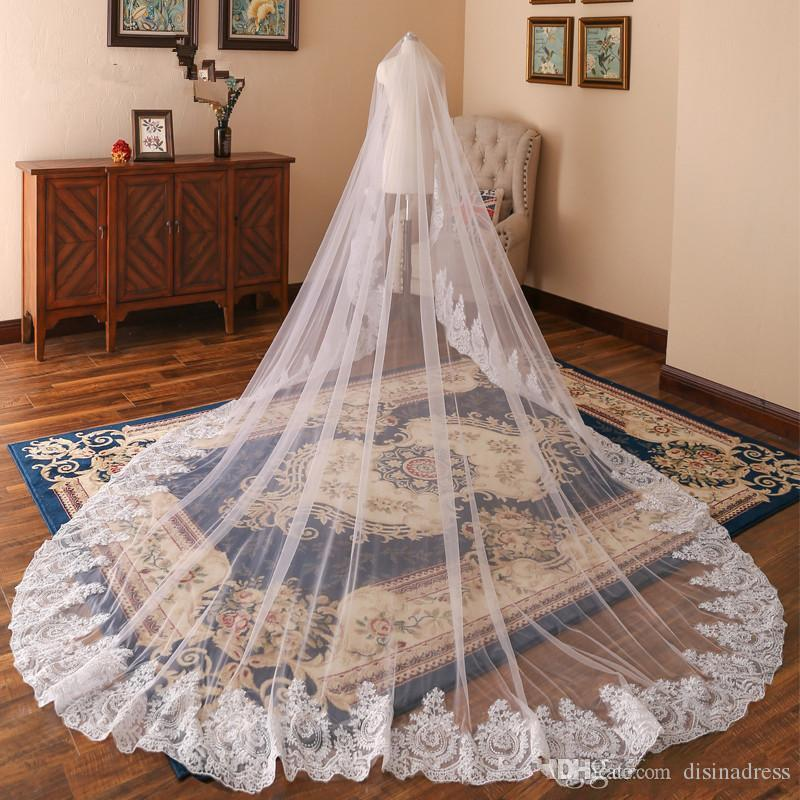 3M Long Wedding Veils With Lace Applique Edge One Layer Cathedral Length Wedding Veils With Comb Tulle Bridal Veil Wedding Accessories