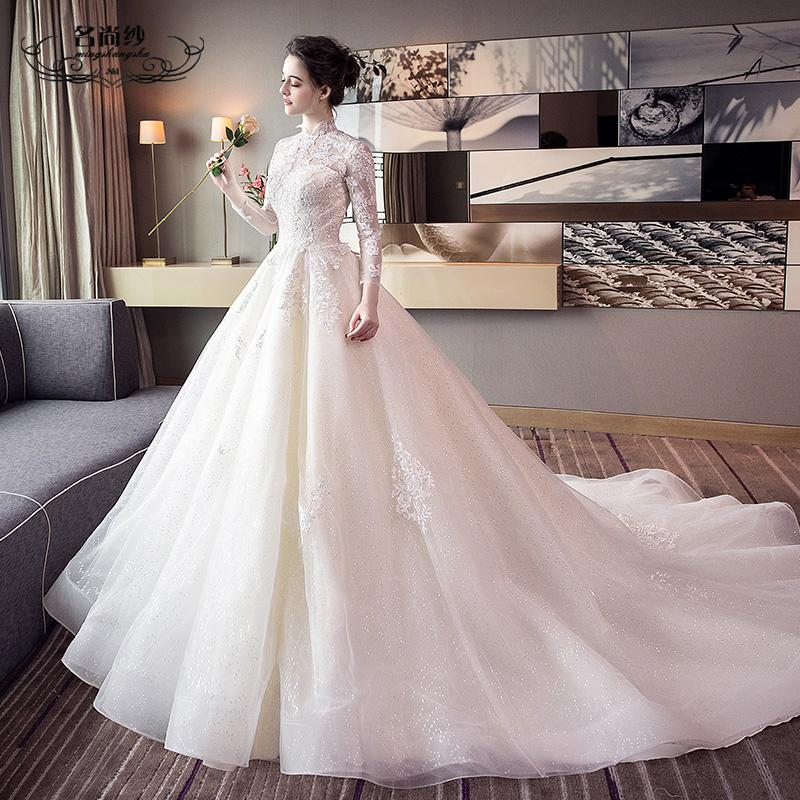 Wedding new lead European and American princess dream long drag tail retro large size Qi Di bride wedding dress girl