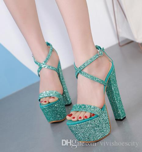 88f6277e333 16cm Green Red Siver Glitter Sequined Platform Thick Heels Luxury ...