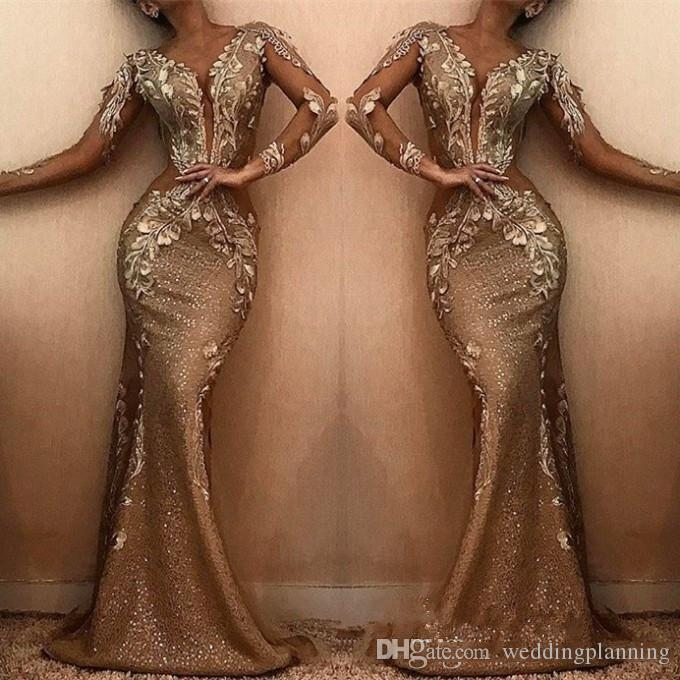 2019 Elegant Mermaid Long Evening Dresses Sheer V Neck Long Sleeves Sequins Applique Sweep Train Formal Party Prom Gowns Dresses
