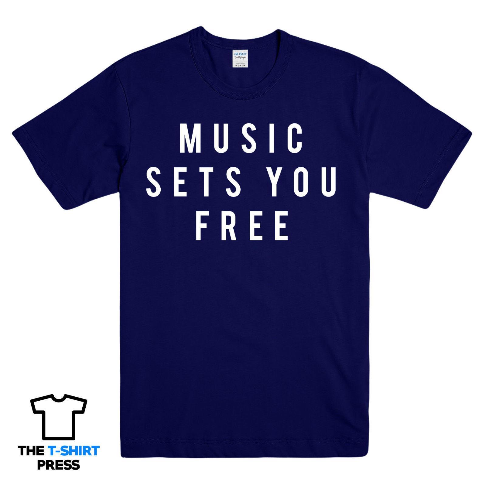 Music Sets You Free Printed Tshirt Slogan House Techno Trance Ibiza