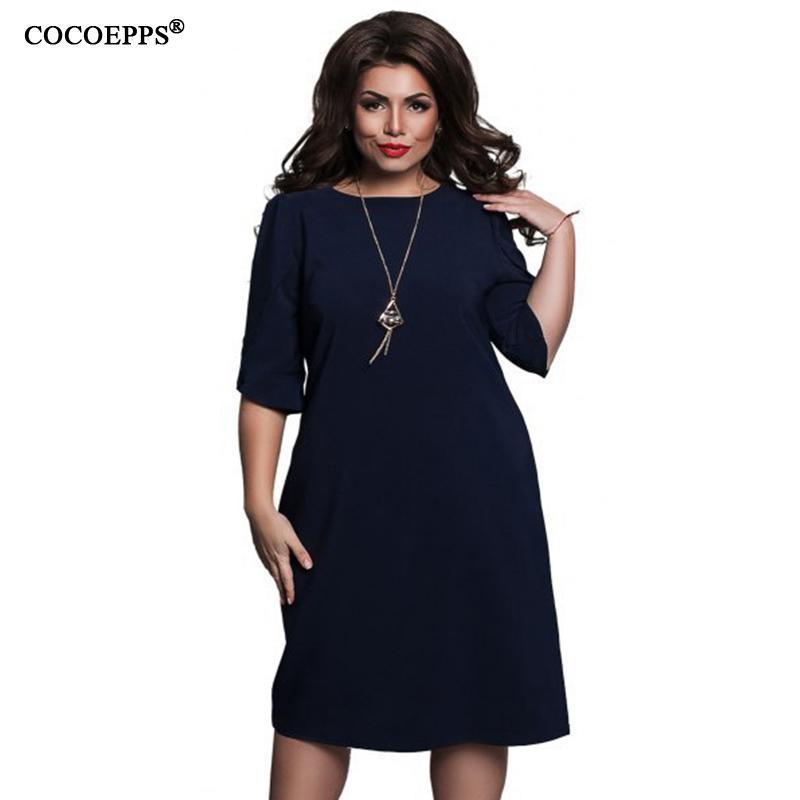 10ebd6dde9067 Satın Al Cocoepps Moda Gevşek Kadın Elbiseler Büyük Boyutları Yeni 2019 Artı  Boyutu Kadın Giyim Yarım Kollu Vestidos Rahat O Boyun Dress Y19012102, ...