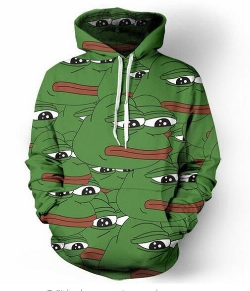 2019 Unisex Pepe The Frog Hoodies 3d Print Casual Hoodie Men Women