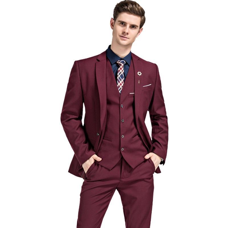 57dcc5dd2 Compre 3 Unidades Conjunto Chaqueta Chaleco Pantalón Slim Fit Casual  Esmoquin Sastre Terno Traje Hombre Traje Hombre Hombre Trajes De Boda Para  Hombres A ...