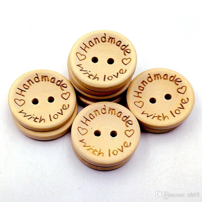 1000PCS/lot Natural Color Wooden Buttons handmade love Letter wood button craft DIY baby apparel accessories 15mm/20mm/25mm