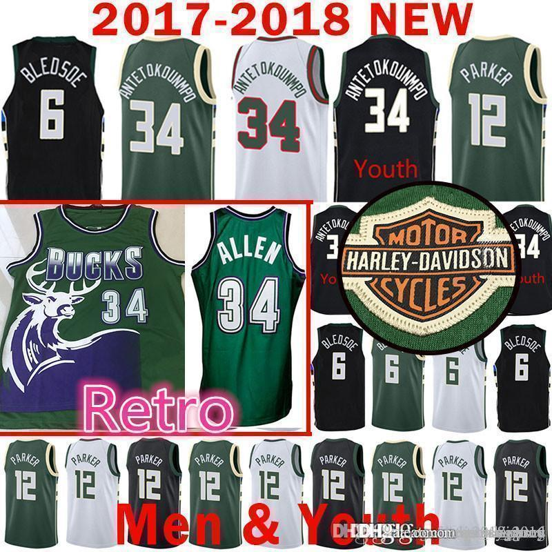 cf559568c 2019 Milwaukee Giannis   Antetokounmpo 34 Ray   Allen Bucks Jersey 6 Eric    Bledsoe Basketball Jerseys The City Retro Mens Youth From Tukameng2016