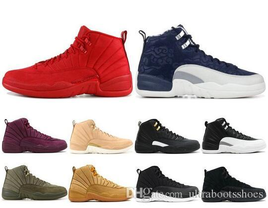 12 12s Zapatillas de baloncesto para hombre 2019 New Michigan Wntr Gym Red NYC Wool XII Designer Shoes Sport Sneakers Trainers Size 40-47